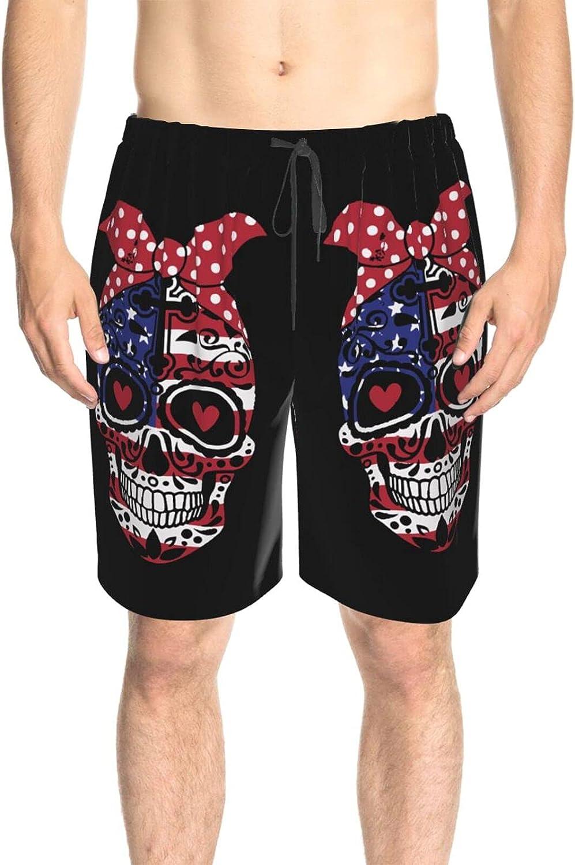 JINJUELS Mens Swim Trunks USA Flag Dead Skull Swim Boardshorts Drawstring 3D Printed Surfing Board Shorts with Lining