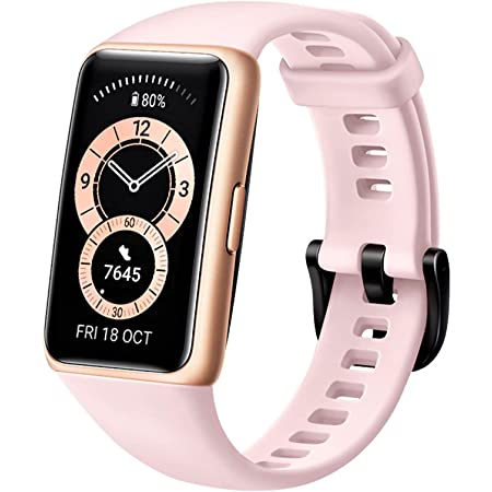 HUAWEI Band 6 Fitness Tracker Smartwatch for Men Women, 1.47'' AMOLED Color Screen, All Day Spo2 and Heart Rate Monitoring,2 Week Battery Life,5ATM Waterproof, Global Version,Pink