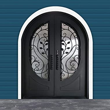 ALEKO IDR7296BK01 Iron Round Top Gold Leaf Dual Door with Frame and Threshold 72 x 96 Inches Matte Black