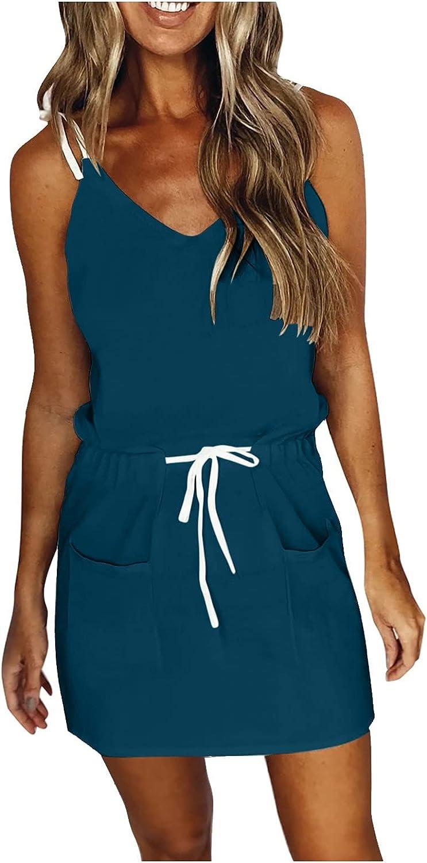 GCETTIC Dress for Women,Casual Summmer V Neck Mini Dress Loose Short Dress Beach Party Sun Dresses with Drawstrings