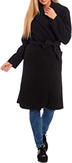 21FASHION Womens Popcorn Long Sleeve Wrap Over Belted Duster Trench Coat Party Outerwear Small/Large
