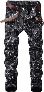 Men's Casual Printed Jeans Skinny Denim Pants