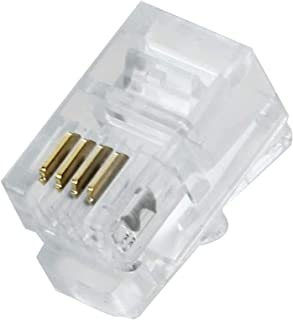 100 Pack RJ9 4P4C 4P2C Plug, Uvital Standard Telephone Handset Modular Plugs Male Connectors Transparent Color Jack Crimp ...