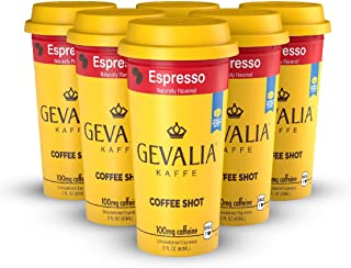Gevalia Coffee Shots - 100mg Caffeine, Espresso, Premium coffee energy boost in a ready-to-drink 2-ounce shot, 6 pack