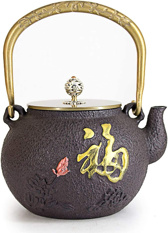 MINBAO Pot en Fer Fait à la Main Théière en Fonte Pot en Fer Bouilloire en Fer Bouillie en Fonte