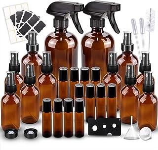 Glass Spray Bottles Kits, BonyTek Empty 12 10 ml Roller Bottles, 12 Amber Essential Oil Bottle(2 x 16oz,2 x 4oz,8 x 2oz) w...