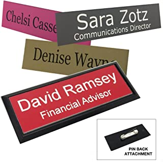 Business Name Tag/ID Badge Personalized - Laser Engraved, Pin Back - Customize