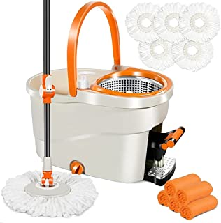 Spin Mop with Foot Pedal Bucket 16L Mops and Bucket Set with 5 PCS Microfiber Mop Refills & 5 Cleaning Cloths Hardwood Flo...