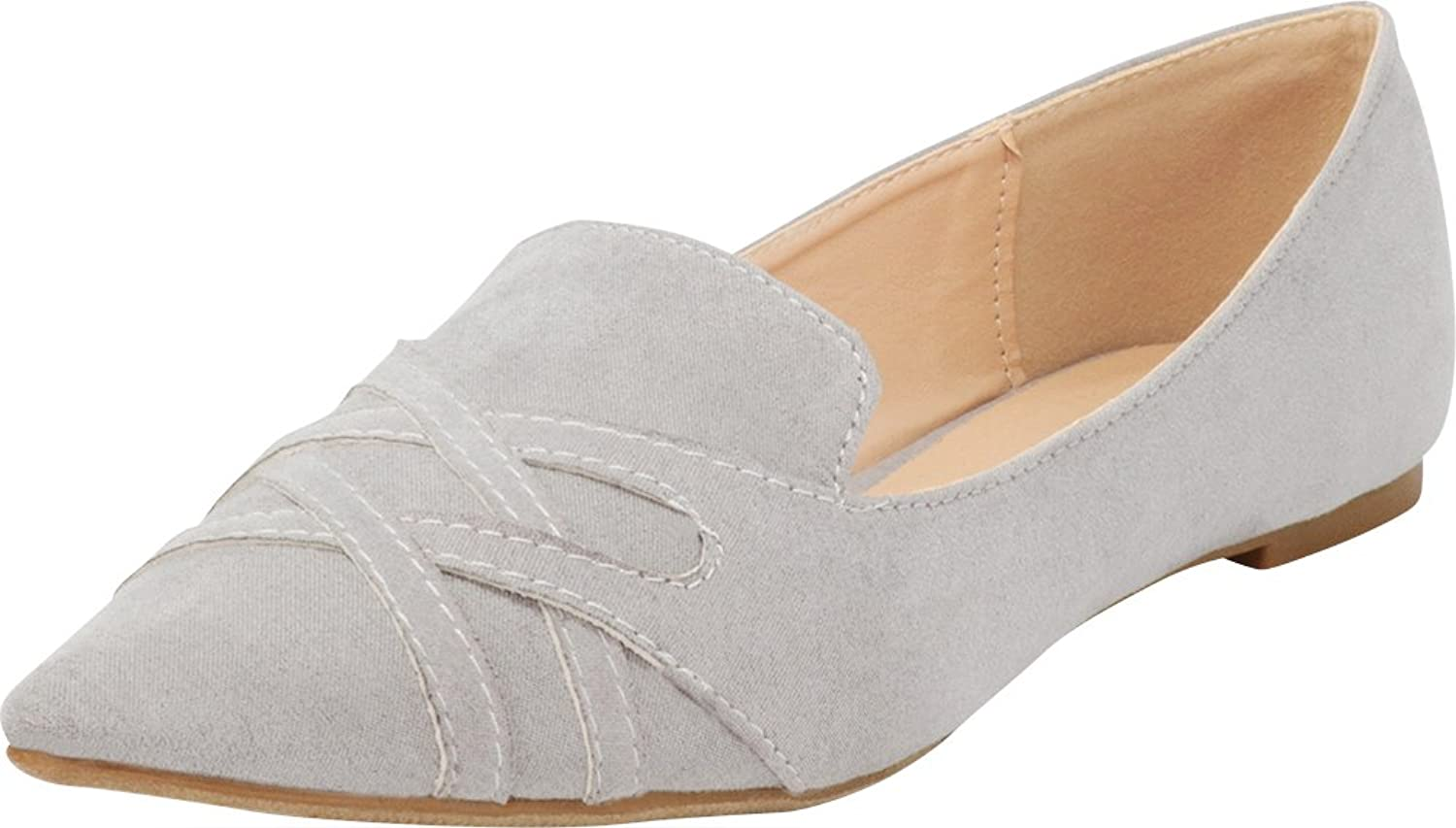 Cambridge Select Women's Closed Pointed Toe Driving Smoking Slip-On Loafer Flat