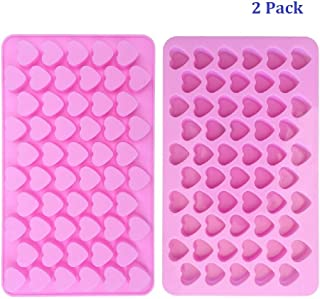 Silicone Mini Heart Shape Silicone Ice Cube/Chocolate Mold Pink by Longzang (pack 2)