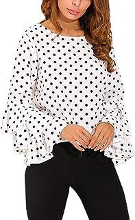 ab81adc5be3 Gusspower Moda De Las Mujeres Manga de Campana Camisa Suelta del Lunar  Señoras Casual Blusa Tops