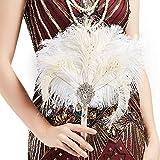 Coucoland Feder Blumenstrauß Hochzeit Braut Brautjungfer Bouquet 20er Jahre Feder Handfächer Accessoires Damen 1920s Gatsby Kostüm Zubehör (Weiß)