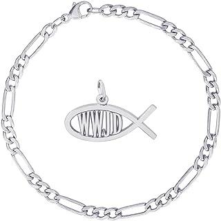Sterling Silver WWJD Fish Charm Bracelet, 7