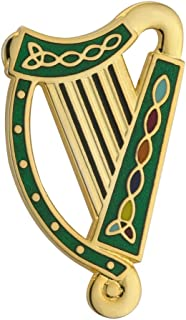 Solvar Irish Harp Brooch Gold Plated & Green Enamel Made in Ireland