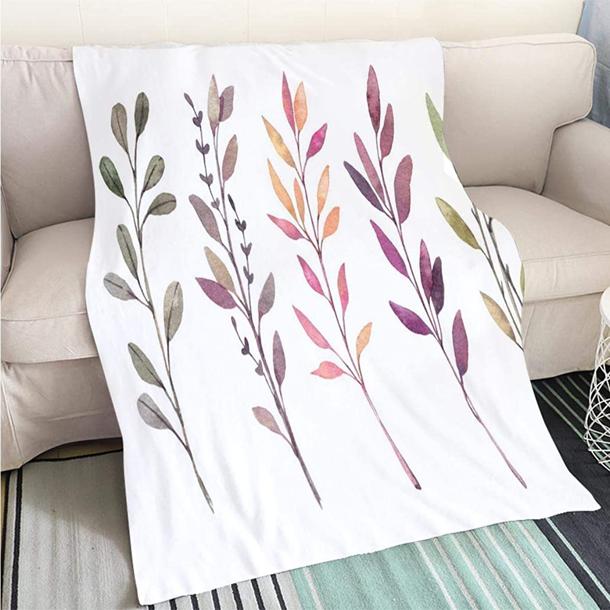 Customized Comfortable 100% Soft Premium Blanket Hand drawn watercolor illustrations Autumn Botanical clipart Set of fall leaves herbs and branches Floral Sofa Bed or Bed 3D Printing Cool quilt