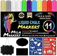MilaMarkers チョークマーカー 11個パック + 黒板 + クリスマスの描画用ステンシル + ラベル16個 プレミアム液体チョークボードネオンペン ゴールド、シルバー、エクストラホワイトインク 6mmチップ