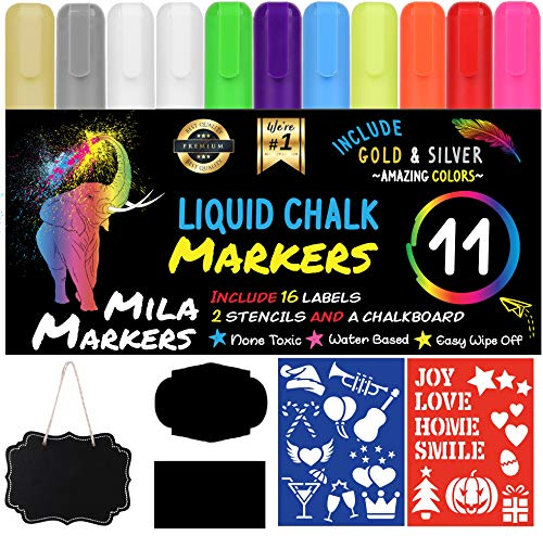 Chalk Markers by Mila Markers, Pack of 11 + A Chalkboard + Christmas Drawing Stencils + 16 Labels, Premium Liquid Chalkboard Neon Pens, Including Gold, Silver and Extra White Ink,6mm Tips