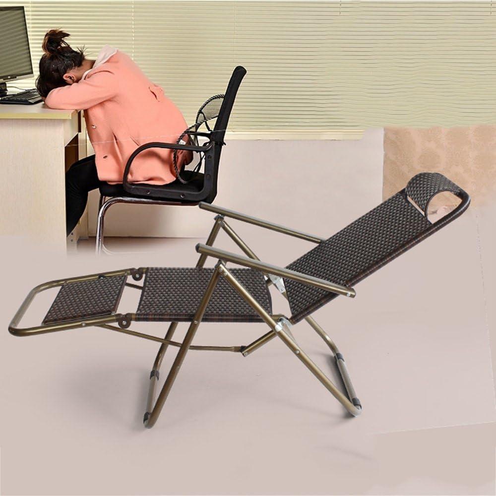 XZPENG Chaise pliante en rotin pour la maison, la plage, le déjeuner, la pause paresseux, la sieste, le fauteuil Tube Carré.