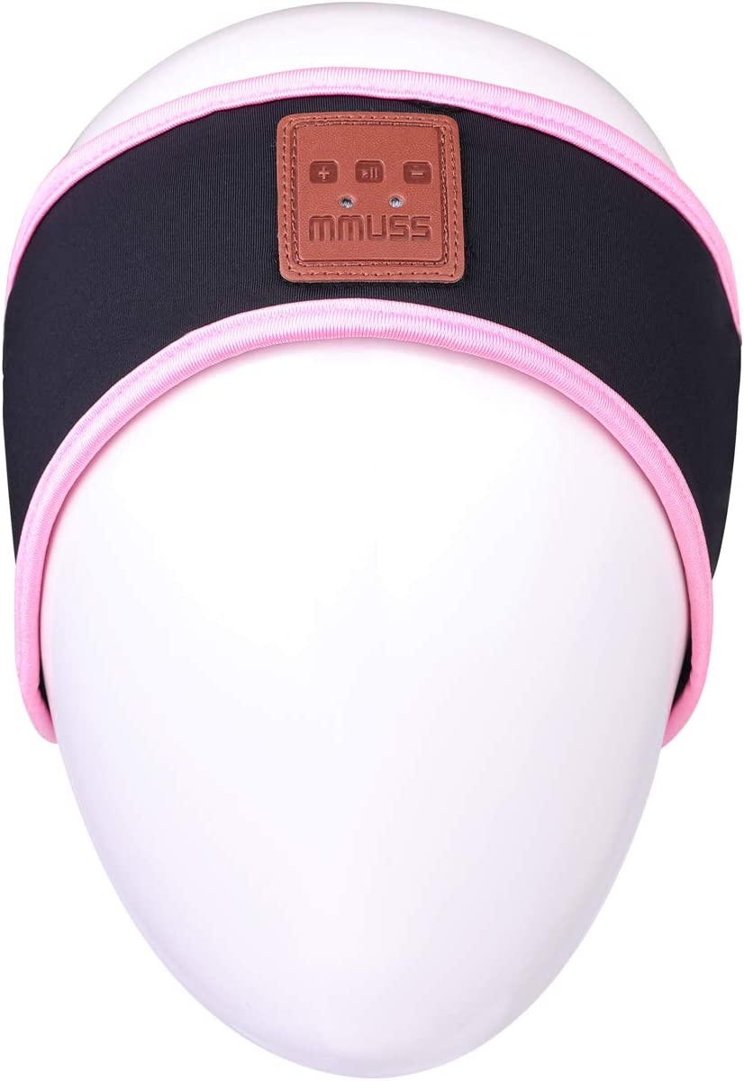 MMUSS Bluetooth Sleep Headphones Lycra Cool Mesh Lining Headband.for Side Sleeper Sports, Air Travel,Yoga.Wireless Headsets with Microphone Handsfree, Long Play Time,Washable(Pink)