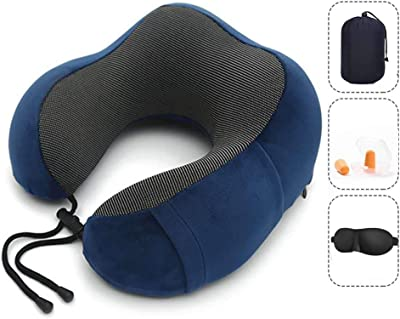 Vival Travel Pillow Pure Memory Foam Neck Pillow, Ergonomically 360 Head & Neck Support Portable U-Shaped Head Cushion, for Airplane Car & Home Use (Blue)