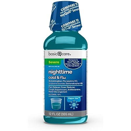 Amazon Basic Care Vapor Ice Nighttime Severe Cold & Flu, Blue, Vapor Ice flavor, 12 Fl Oz (Pack of 1)