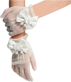 DreamHigh Wedding Flower Girls Mittens Pearl Bow Tie Fish Net Gloves- Ivory