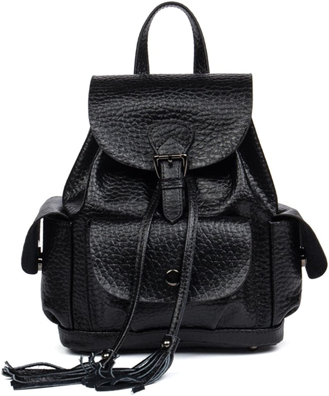 HMILY Leather Handbag Women's Backpack Fashion Casual Ladies Backpack H6896 Black