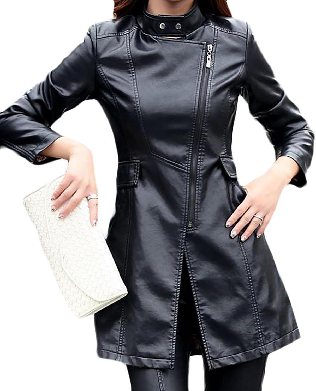 Papijam Womens Zipper color Block PU Leather Trench Coat Moto Biker Jacket