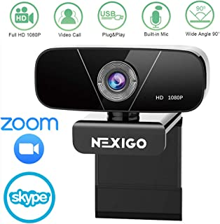 2020 NexiGo 1080P HD Webcam with Built-in Microphone, Widescreen USB HD Web Camera for Zoom Meeting YouTube Skype FaceTime Hangouts, PC/Mac/Laptop/Desktop, Video Calling Recording Conferencing
