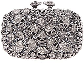 Fawziya Skull Purses And Handbags For Women Kisslock Crystal Evening Clutch Bags