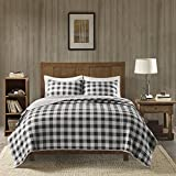 Woolrich 100% Cotton Quilt Reversible Plaid Cabin Lifestyle Design - All Season, Breathable Coverlet Bedspread Bedding Set, Matching Shams, Buffalo Check Gray Full/Queen(92'x96')