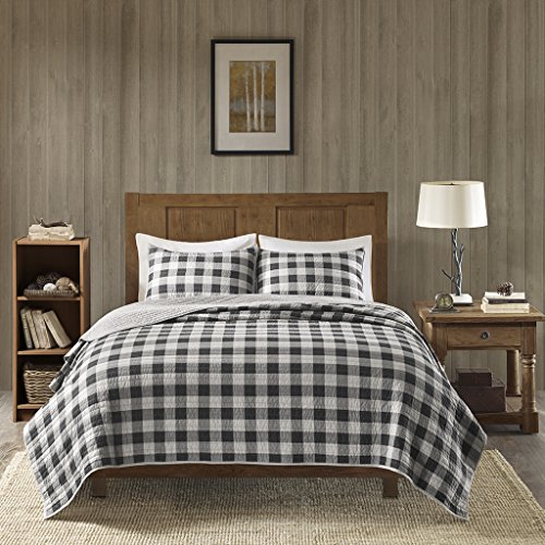 Woolrich Buffalo Check Full/Queen Size Quilt Bedding Set - Gray, Checker Plaid - 3 Piece Bedding Quilt Coverlets - 100% Cotton Bed Quilts Quilted Coverlet