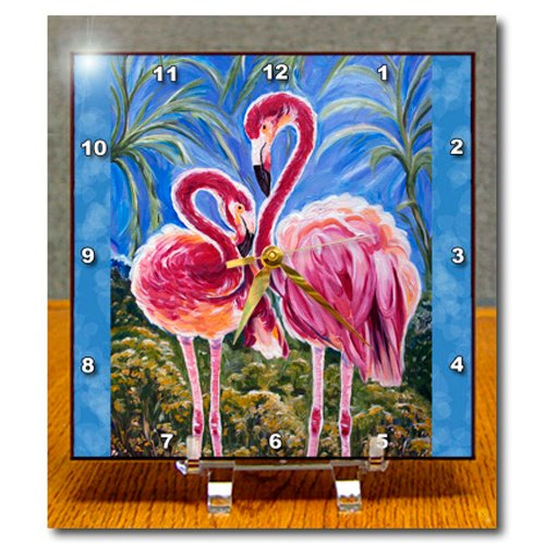 3dRose dc_54920_1 This is The Trinity Concept of Love Bird Flamingos and The Subliminal Heart Formed by The Heads Desk Clock, 6 by 6-Inch