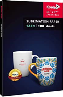 KOALA Sublimation Heat Transfer Paper 11X17 Inches for Inkjet Printer Compatible with Sublimation Ink 100 Sheets 123gsm