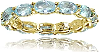 Ice Gems Sterling Silver Blue Topaz 5x3mm Oval-Cut Eternity Band Ring