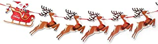 CCINEE 9 PCS Christmas Paper Banners Flags Santa and Reindeers Bunting Garlands for Door Wall Window Hanging Decoration Christmas Party Favor Supplies