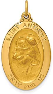 Lex & Lu 14k Yellow Gold Solid Polished/Satin Oval St. Anthony Medal Pendant