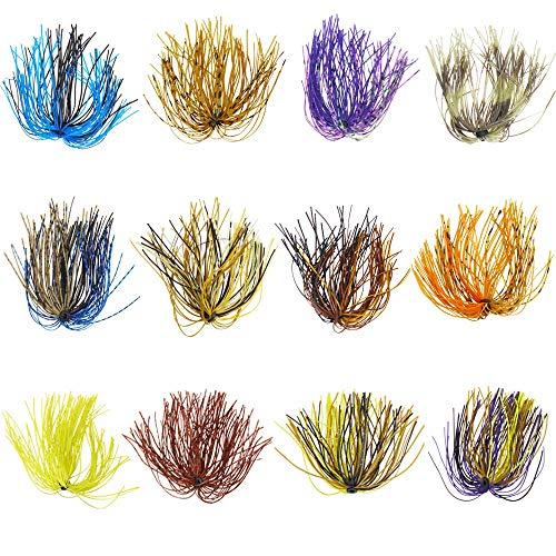 NO LOGO LIBAO-Lures, 12 Bundles 50 Stands Bass Rubber Jig Lures Esche da calamaro Gonne in Silicone Spinnerbait Accessori for Pesca Fai da Te (Colore : Mixed Color)