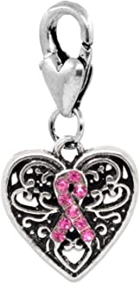 Pink Ribbon Breast Cancer Awareness Rhinestone Heart Charm - Lobster Clip Dangle for Bracelet