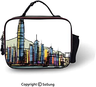 Modern Insulated Lunch ToteSketch Style Asian Hong Kong City Buildings with Tall Skyscrapers Urban Cartoon Art Decorative Customizable Lunch Bag,10.6x8.3x3.5 inch,Multicolor
