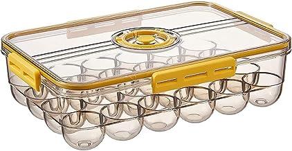 YAYANG Eierhouder, Koelkast Opslag Ei Houder, Clear Egg Tray Opbergdoos met deksel en speciale gesp, Stapelbare PET Plasti...