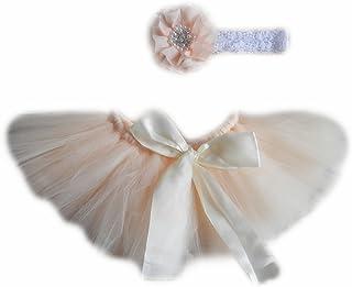 أزياء Vemonllas أزياء الوليد للبنات حديثي الولادة اللباس الفوتوغرافية توتو فستان زهرة غطاء الرأس البيج