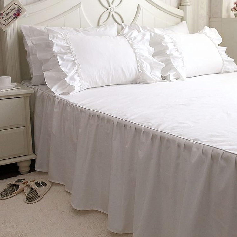 ネコ再生テレビを見るベッドスカート 綿100% シンプルなデザイン ホワイト (キング)