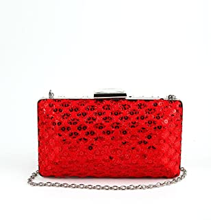 Odette Scarlet Red Sequinned Boxy Clutch
