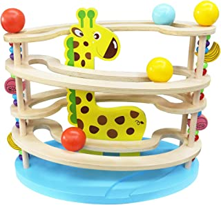fgghfgrtgtg Unique Wood Tree Leaves Blocks Marble Ball Run Track Game Toy Children Educational Toys