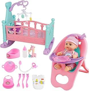 """deAO """"My First Baby Doll"""" 15-delars dockset med miniatyrsäng, sängmobil, barnstol, matningstillbehör och docka ingår"""