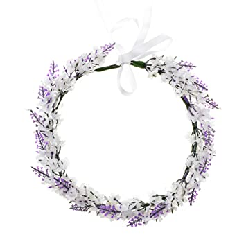 tie back flower crown Purple flower crown wedding lavender bridal wreath