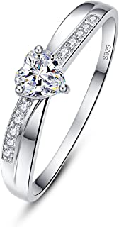 AVECON Women's Solid 925 Sterling Silver Heart Cut Cubic Zirconia Eternity Solitaire Engagement Promise Ring for Her