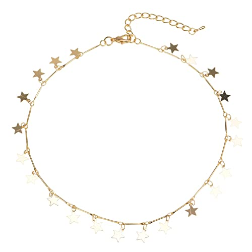 333f95c4a Manerson Lucky Star Choker Necklace Pendant Disc Chain Statement Necklace  For Woman Jewellery Gold Tone