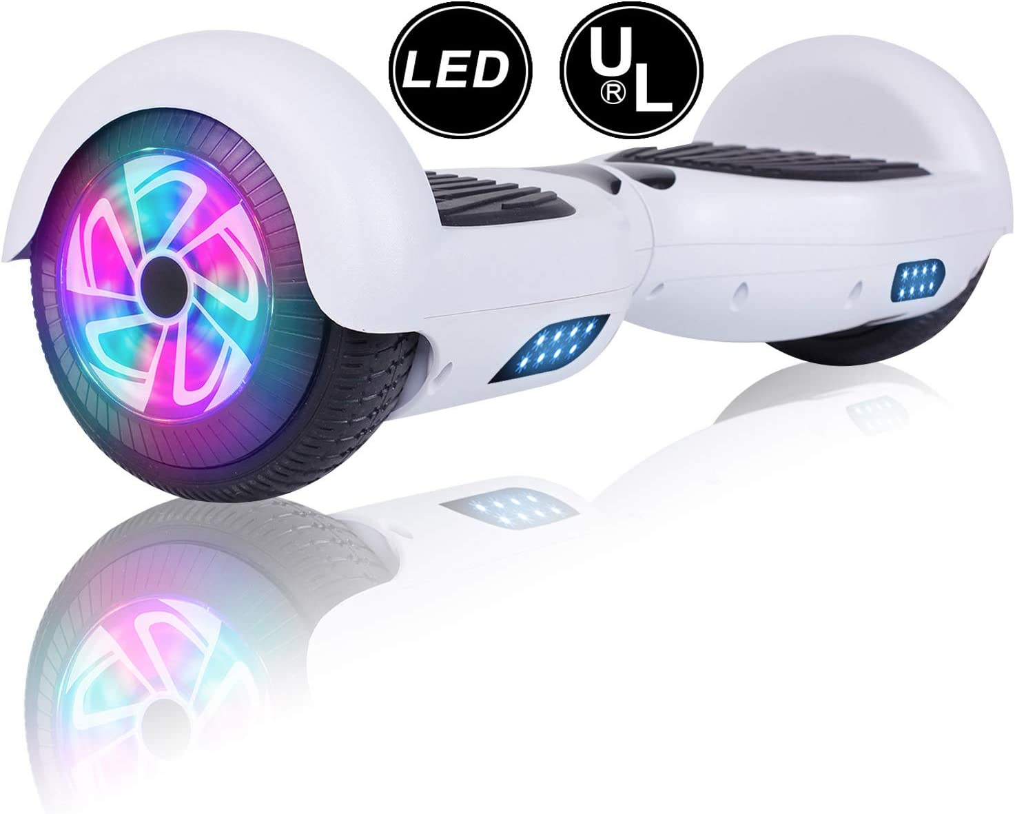 6.5 Hover Scooter Board Gift for Kids and Adult Self-Balacing Electric Scooter with LED Lights YHR Hoverboard